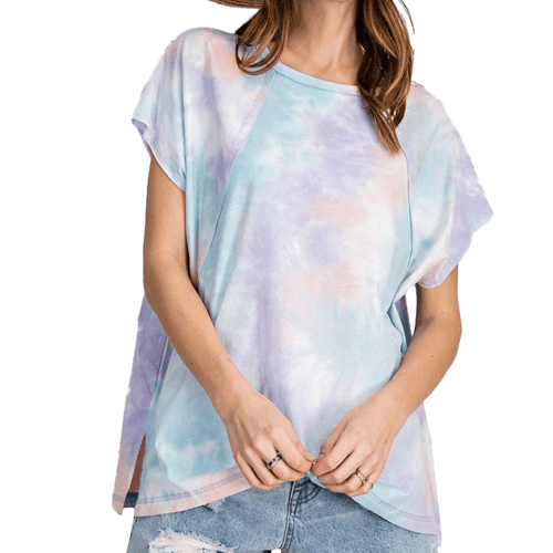 Women's Easel Tie Dye Jersey Top Lilac and Blue Front