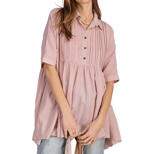 Women's Easel Laced Pintuck Top Mauve Front