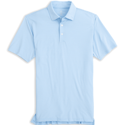 Men's Southern Tide Driver Classic Stripe Performance Polo Blue Mist