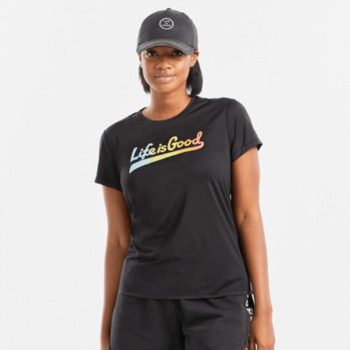 Women's Life Is Good Ballyard Script Active Tee Front