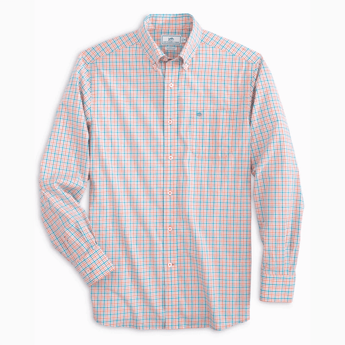 Men's Southern Tide Long Sleeve Skipjack Micro Multi-Check Button Down Nautical Orange Front