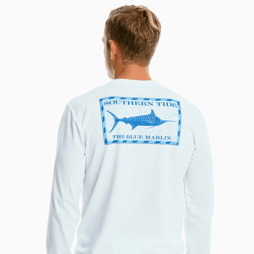 Men's Southern Tide Long Sleeve Original Blue Marlin Performance Tee - Classic White Back