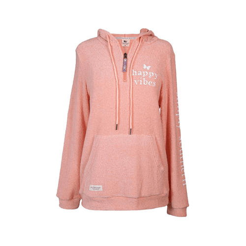 Women's Simply Southern Terry Hoodie Pullover Happy Pink