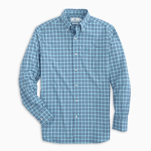 Men's Southern Tide Long Sleeve Arenal Plaid Intercoastal Sport Button Down - Parrotfish Front