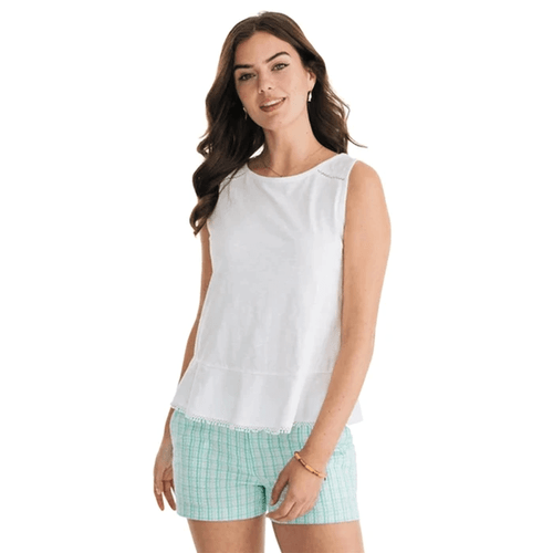 Women's Southern Tide Sleeveless Elena Knit Top - Classic White Front