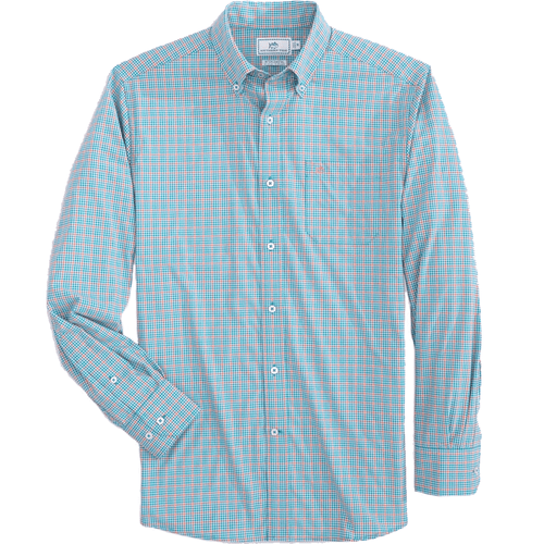 Men's Southern Tide Minicheck Brrr Intercoastal Sport Button Down - Parrotfish Front