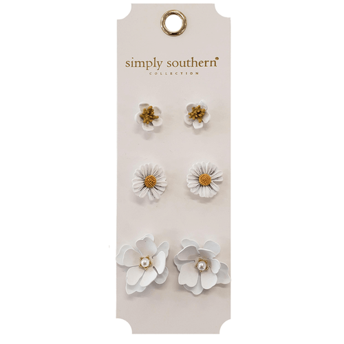 Simply Southern Flower Earring Set White