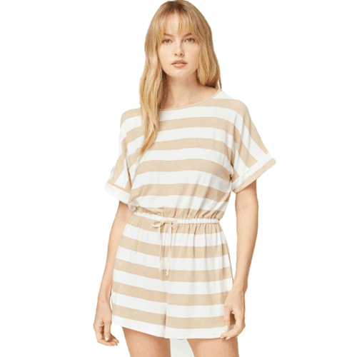Women's Entro Striped Romper Sand Front
