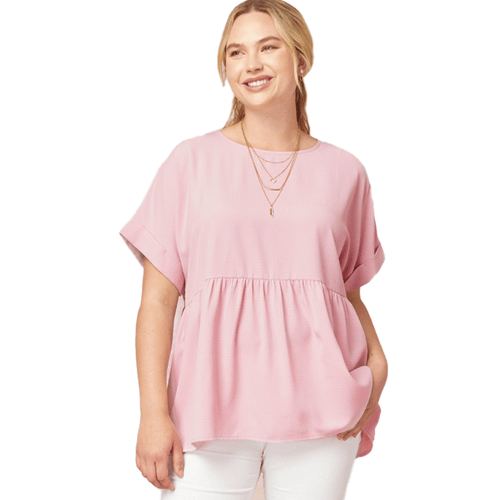 Women's Entro Crinkled Cuffed Sleeve Top Pink
