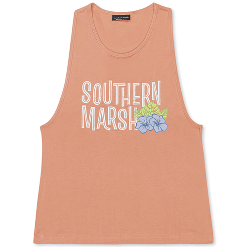 Women's Southern Marsh MarshLUX Performance Aloha Tank Peach Front