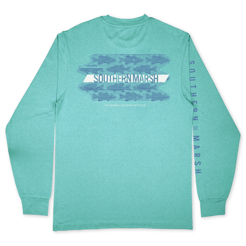Youth Southern Marsh Long Sleeve FieldTec™ Featherlight Summer School Tee Antigua Blue Back