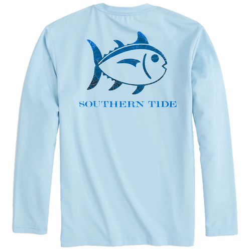 Kids' Southern Tide Long Sleeve Skipjack Textured Performance Tee - Dream Blue Back