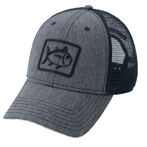 Adult Southern Tide Skipjack Heather Performance Trucker Hat Heather Navy Front