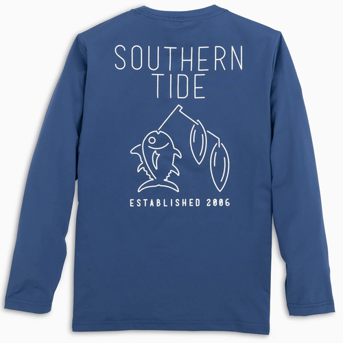 Kids' Southern Tide Long Sleeve Spinner Lure Performance Tee - Seven Seas Blue Back