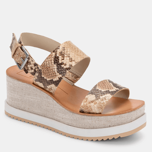 Women's Dolce Vita Idrah Wedge Sandal - Dark Sand Embossed Leather Front