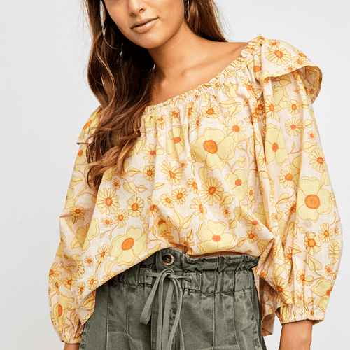 Women's Free People Miss Daisy Printed Top 1103IvoryCombo Front
