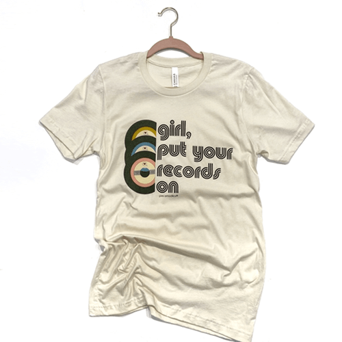 Women's Pink Armadillos Girl Put Your Record On Tee Natural