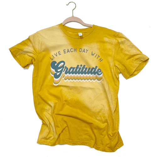 Women's Pink Armadillo Each Day with Gratitude Tee Mustard