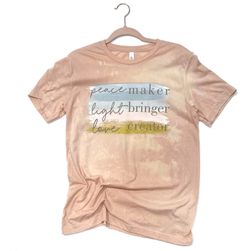 Women's Pink Armadillo Peace Maker Light Bringer Tee Peach