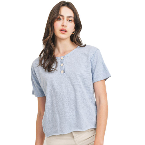Women's Paper Crane Short Sleeve Solid French Terry Button Front Top Light Blue Front