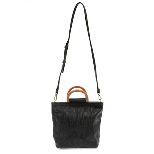 Joy Susan Lily Woven Wooden Handle Tote Black Strap