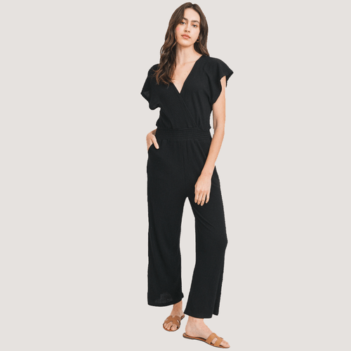 Women's Paper Crane Short Sleeve V-Neck Overlap Black Jumpsuit Front