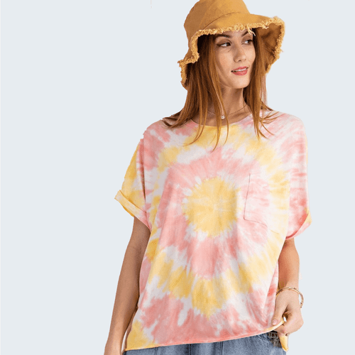 Women's Easel Short Sleeve Special Washed Tie Dye Knit Tee Coral Yellow Front