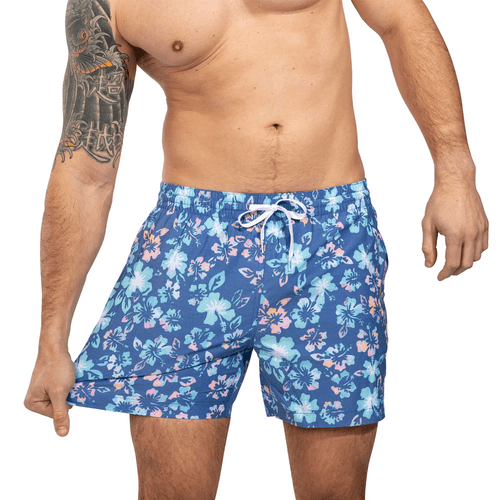 "Men's Chubbies The Buds 5.5"" Faded Stretch Swim Trunk Blue Front"