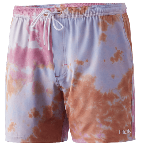 "Men's Huk 5.5"" Tie-Dye Volley Swim Short 634FusionCoral Front"