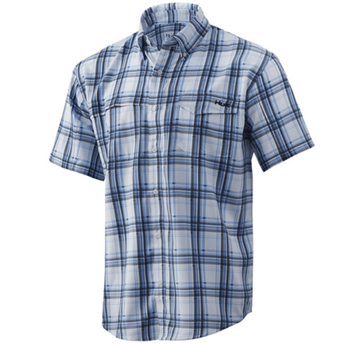 Men's Huk Short Sleeve Tide Point Fish Plaid Button Down 457HukBlue Front
