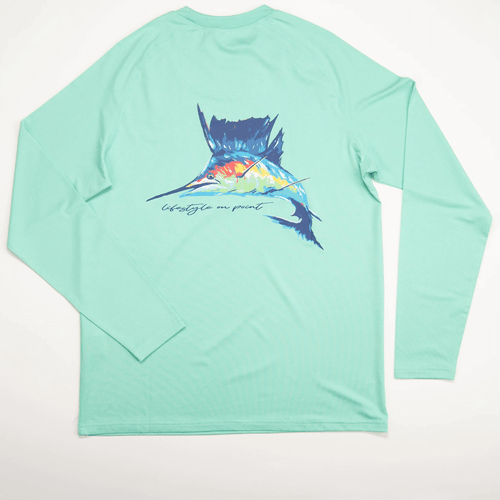 Youth Southern Point Co. Long Sleeve Marlin Dry Fit UPF Tee - Spearmint Back