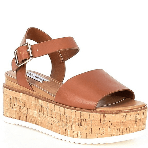 Women's Steve Madden Corrina Leather Wedge Platform Sandal Cognac