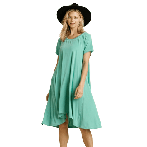 Women's Umgee Hi-Low Round Neck Dress Aqua Marine