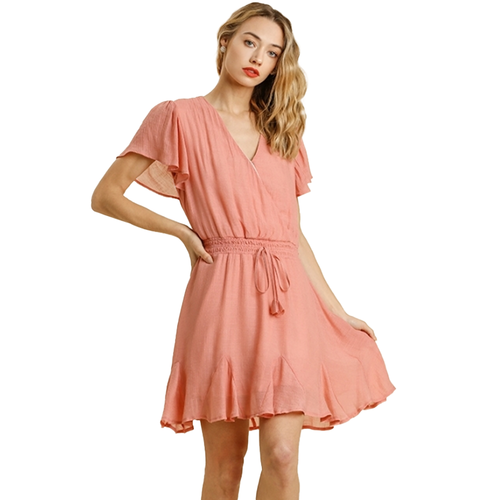 Women's Umgee V-Neck Dress -Salmon