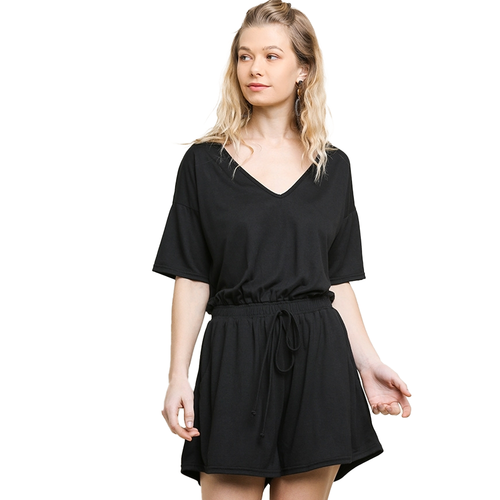 Women's Umgee V-Neck Pocket Romper -Black