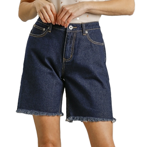 Women's Umgee Denim High Rise Shorts -Indigo