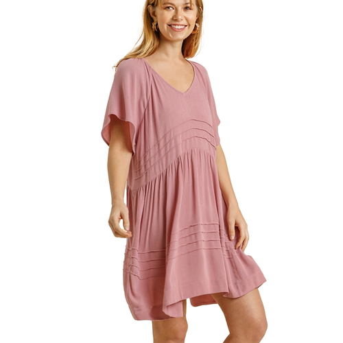 Women's Umgee Pintuck V-Neck Short Sleeve Dress -Mauve Front