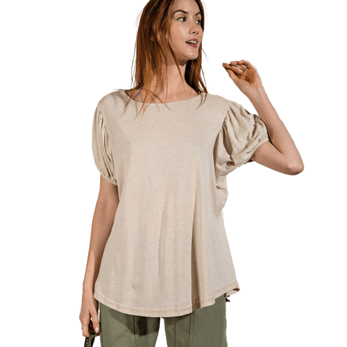 Women's Easel Short Sleeve Melangie Knit Top -Oatmeal