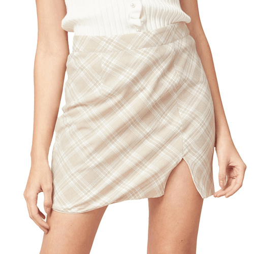 Women's Entro Plaid High Waisted Mini Skirt Oatmeal Front