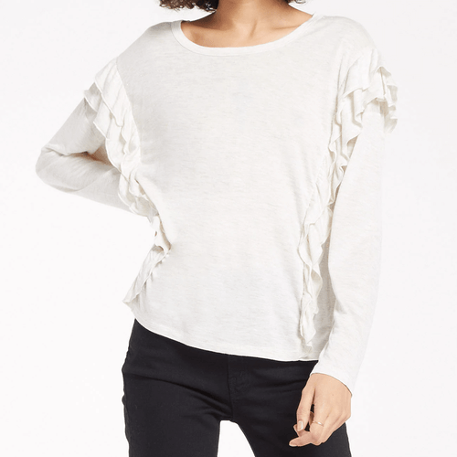 Women's Z Supply Adele Sparkle Ruffle Top Oatmeal Front