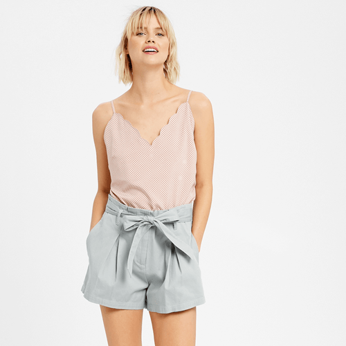 Women's Listicle Twill Cuffed Short with Tie Sash Misty Grey