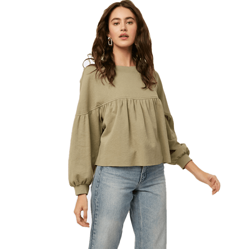 Women's Listicle Puff Sleeve Babydoll Top Light Olive