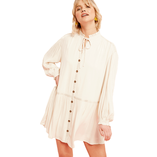 Women's Listicle Button Down Puff Sleeve Dress Champagne