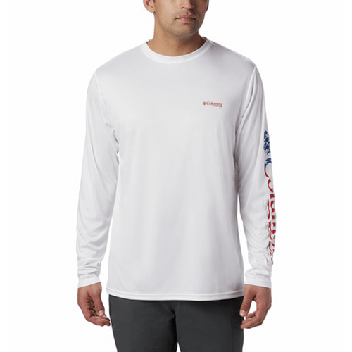 Men's Columbia Terminal Tackle™ PFG Long Sleeve Shirt 101White/Stars&Stripes Front