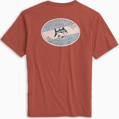 Adult Southern Tide Weathered Label Heathered Short Sleeve Tee Terracotta Back