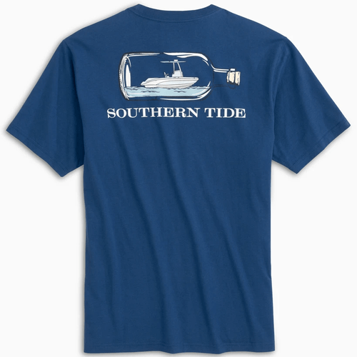 Adult Southern Tide Boat In A Bottle Heathered Short Sleeve Tee - Blue Cove Back