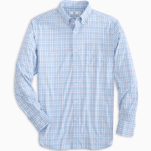Men's Southern Tide Quezal Heather Intercoastal Long Sleeve Sport Shirt Dream Blue Front