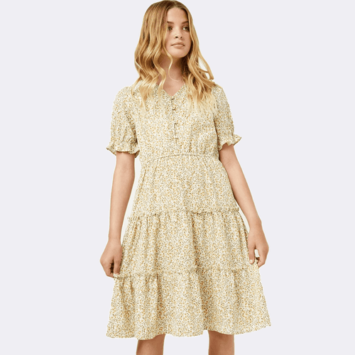 Girls' Hayden Floral Tiered Maxi Dress Yellow Front