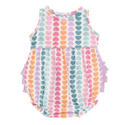 Infant & Toddler Girls' Ruffle Butts Bubble Romper Rainbow Hearts