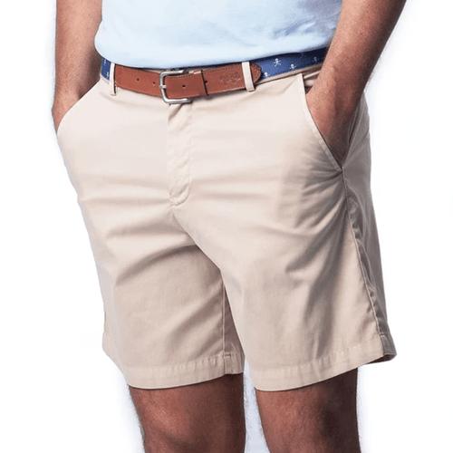 Men's Coastal Cotton Performance Stretch Tour Short Sandstone Front